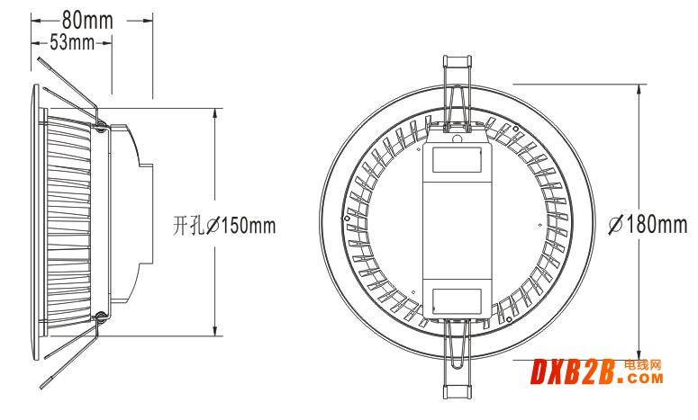 5寸LED筒灯尺寸图